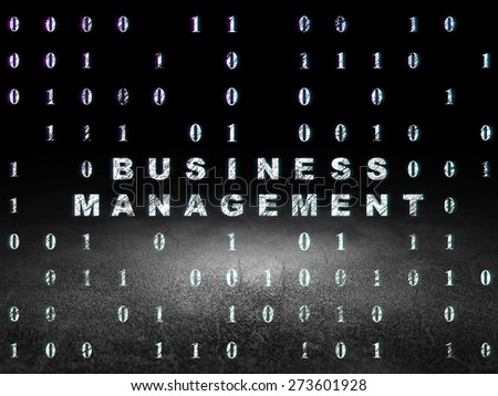 Business concept: Glowing text Business Management in grunge dark room with Dirty Floor, black background with Binary Code, 3d render
