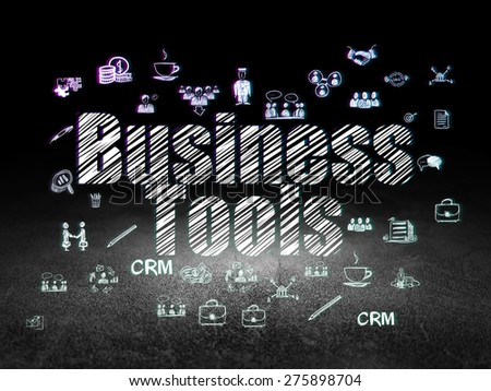 Business concept: Glowing text Business Tools,  Hand Drawn Business Icons in grunge dark room with Dirty Floor, black background, 3d render - stock photo