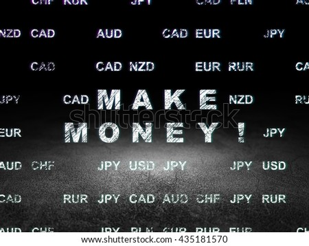 Business concept: Glowing text Make Money! in grunge dark room with Dirty Floor, black background with Currency