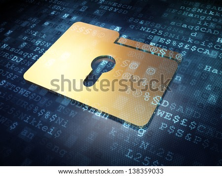 Business concept: Golden Folder on digital background, 3d render