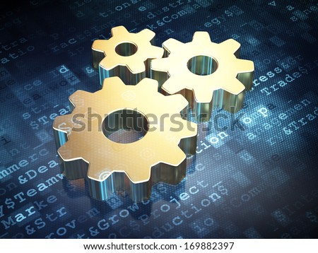 Business concept: Golden Gears on digital background, 3d render