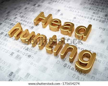 Business concept: Golden Head Hunting on digital background, 3d render