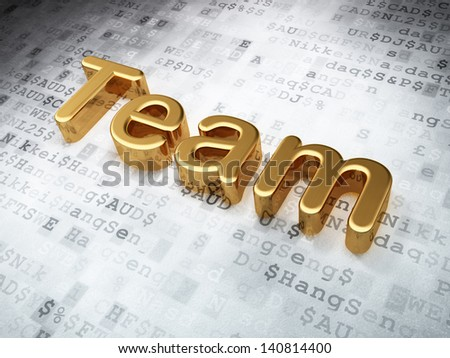 Business concept: Golden Team on digital background, 3d render