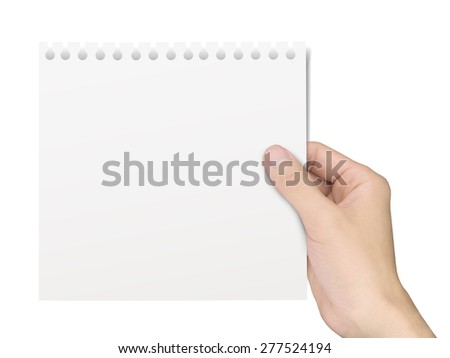 business concept: hand holding a notepaper over white background - stock photo
