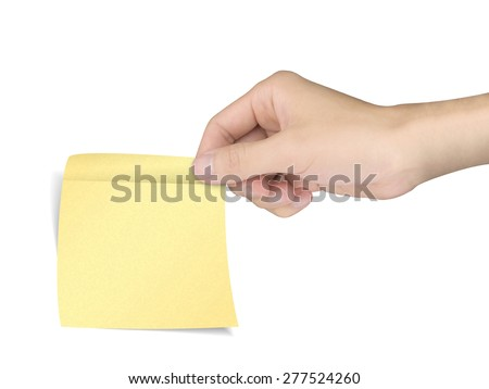 business concept: hand holding a sticky note over white background - stock photo
