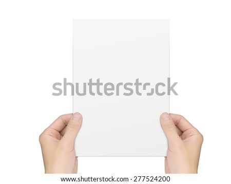 business concept: hands holding a notepaper over white background - stock photo