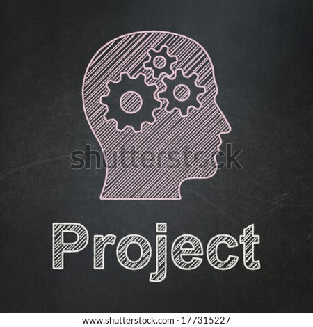 Business concept: Head With Gears icon and text Project on Black chalkboard background, 3d render