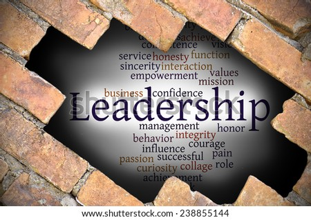Business Concept - Hole in The Brick Wall Fill With Word Cloud Of Leadership And Its Related Words.  - stock photo