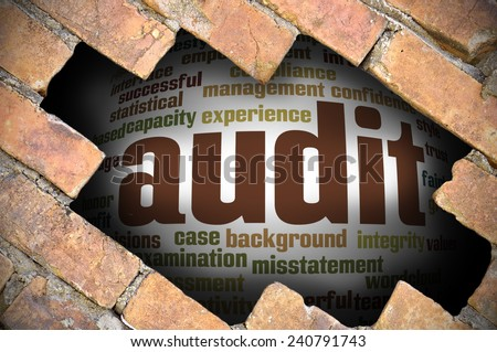 Business Concept - Hole In The Brick Wall Reveal Word Cloud Of Audit And Its Related Words