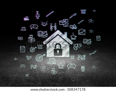 Business concept: Home in grunge dark room - stock photo