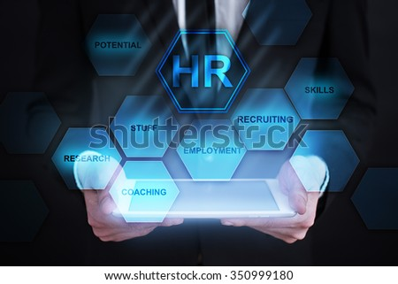 business concept. HR Icons on virtual screen. - stock photo