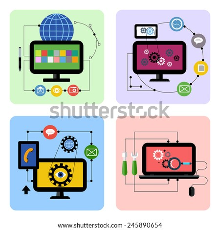 Business concept icon set for graphic design, web application, social media and optimization in flat design. Raster version - stock photo