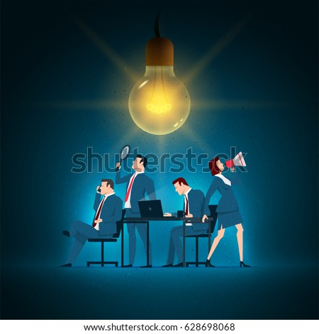 Business concept illustration. Business team working.