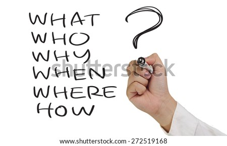 Business concept image of a hand holding marker and write basic questions isolated on white - stock photo
