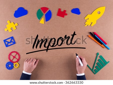 Business Concept-Import word with colorful icons