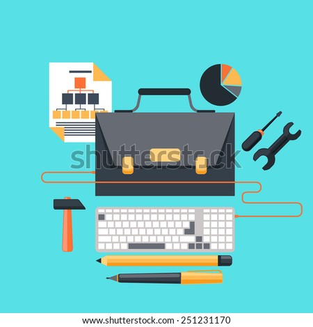 Business concept in flat design of project management  with portfolio as LCD monitor of desktop computer, stationery and tools. Raster version - stock photo