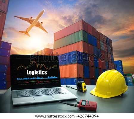 Business concept, industry Laptop desk on with Containers shipping, container box loading for logistic Import Export concept - stock photo