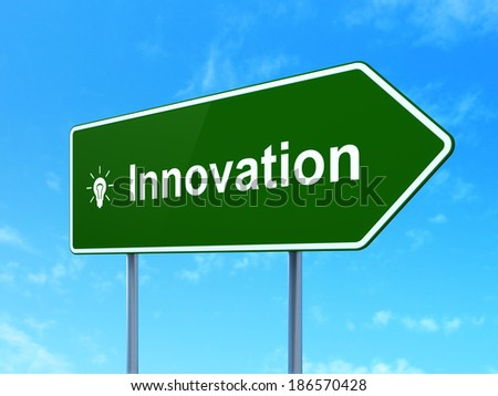 Business concept: Innovation and Light Bulb icon on green road (highway) sign, clear blue sky background, 3d render