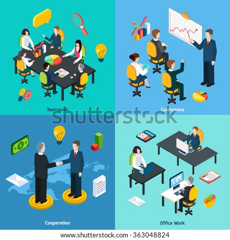 Business concept 4 isometric icons square - stock photo
