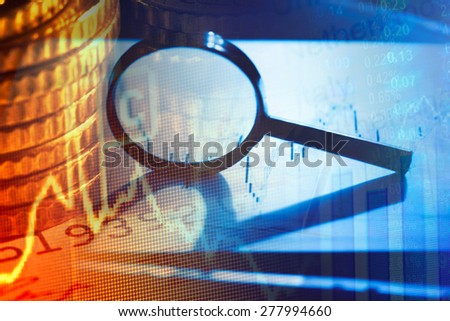 Business concept. Magnifying glass. - stock photo