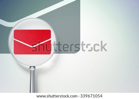 Business concept: magnifying optical glass with Email icon on digital background, empty copyspace for card, text, advertising - stock photo