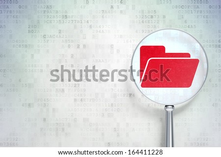 Business concept: magnifying optical glass with Folder icon on digital background, empty copyspace for card, text, advertising, 3d render - stock photo