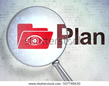 Business concept: magnifying optical glass with Folder With Eye icon and Plan word on digital background, 3D rendering