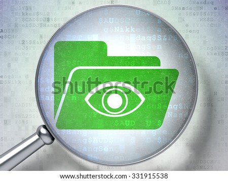 Business concept: magnifying optical glass with Folder With Eye icon on digital background - stock photo