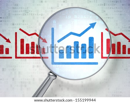 Business concept: magnifying optical glass with Graph icons on digital background, 3d render - stock photo
