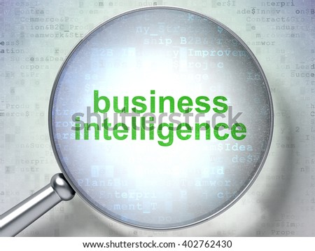 Business concept: magnifying optical glass with words Business Intelligence on digital background, 3D rendering - stock photo