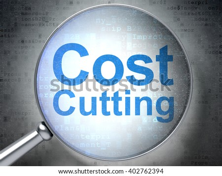 Business concept: magnifying optical glass with words Cost Cutting on digital background, 3D rendering - stock photo