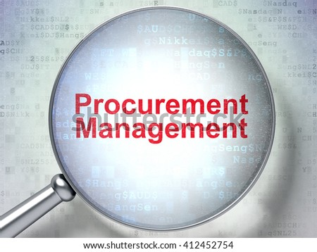 Business concept: magnifying optical glass with words Procurement Management on digital background, 3D rendering - stock photo