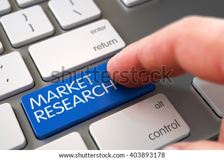 Business Concept - Male Finger Pointing Market Research Key on Laptop Keyboard. Hand of Young Man on Blue Market Research Keypad. Market Research Concept - Metallic Keyboard with Keypad. 3D Render. - stock photo