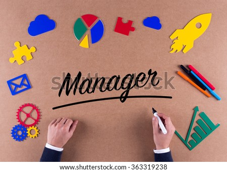Business Concept- Manager word with colorful icons - stock photo