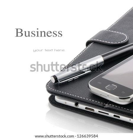 Business concept. Mobile phone, tablet pc and pen - stock photo