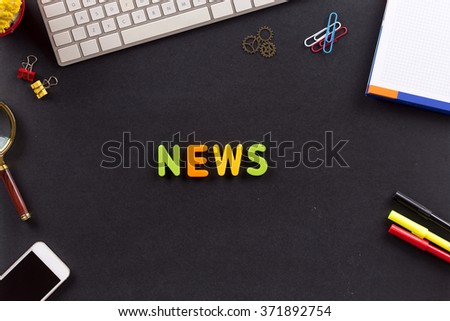 Business Concept: NEWS single word on desk - stock photo