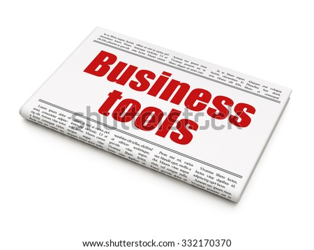 Business concept: newspaper headline Business Tools on White background, 3d render - stock photo