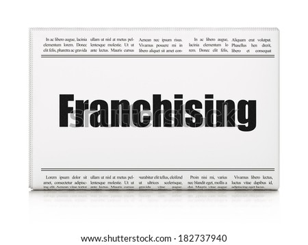 Business concept: newspaper headline Franchising on White background, 3d render - stock photo
