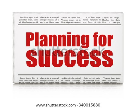 Business concept: newspaper headline Planning for Success on White background, 3d render - stock photo
