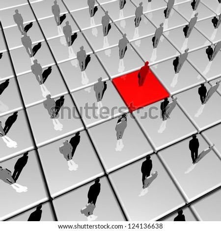 Business concept of being different | Standing our from the crowd - stock photo