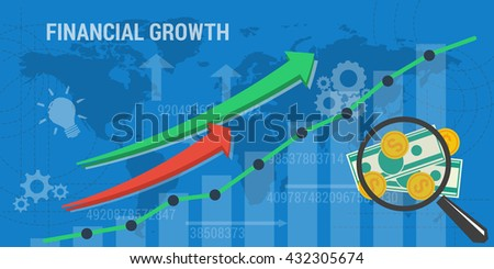 Business concept of financial growth. Web banner. Concept analytics, earnings growth. Arrows shows growth, money, banknotes and abstract lines in flat style - stock photo