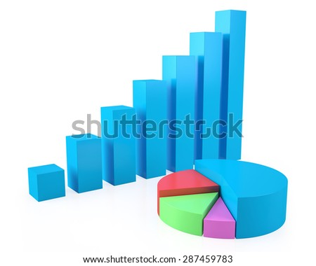 Business concept of growth, success, colorful pie chart with a rising blue diagram isolated on white background. 3d illustration High resolution