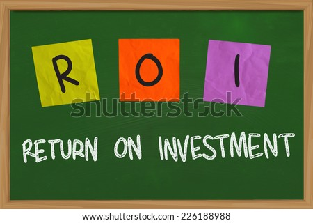 Business concept of Return on Investment written on sticky colored paper - stock photo