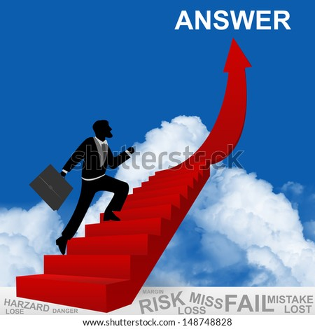 Business Concept of Step for Success Present By The Businessman Step Up to Top of Answer Arrow in Blue Sky Background - stock photo