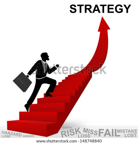 Business Concept of Step for Success Present By The Businessman Step Up to Top of Prosperity Arrow Isolated on White Background - stock photo