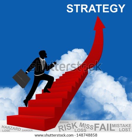 Business Concept of Step for Success Present By The Businessman Step Up to Top of Strategy Arrow in Blue Sky Background - stock photo