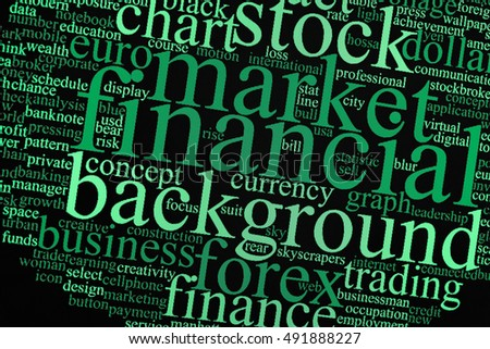 Business concept or conceptual abstract word cloud: All of Word cloud is related with many market such as Trend of Forex, Commodities, Equities Markets, Fixed Income Markets and Emerging Markets.