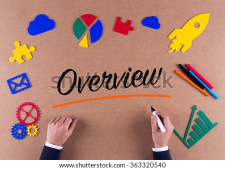 Business Concept- Overview word with colorful icons