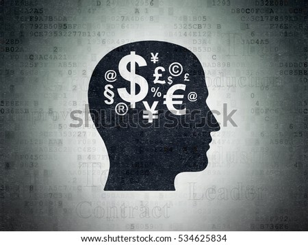 Business concept: Painted black Head With Finance Symbol icon on Digital Data Paper background with  Tag Cloud