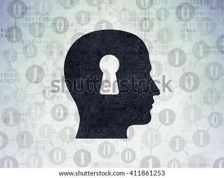 Business concept: Painted black Head With Keyhole icon on Digital Data Paper background with Scheme Of Binary Code